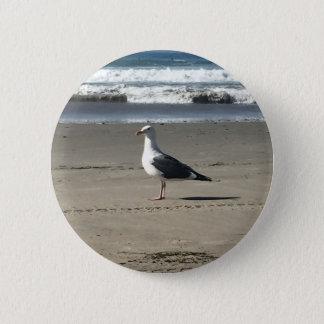 Seemöwe auf dem Strand Runder Button 5,1 Cm