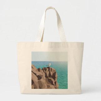 Seemöwe, die heraus zum Meer schaut Jumbo Stoffbeutel