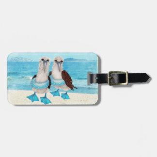 Seemöwen auf Strand-Gepäckanhänger Kofferanhänger