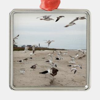 Seemöwen fliegend, stehend und essend auf dem silbernes ornament
