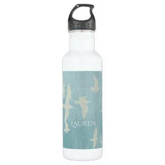 Seemöwen im Flug auf aquamarinem Blau, Edelstahlflasche