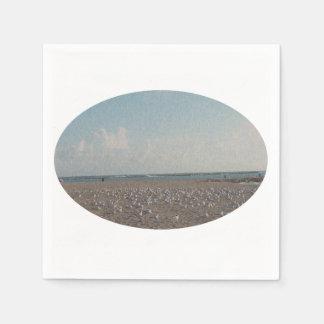 Seemöwen stehend auf Strand fibered Blick Servietten