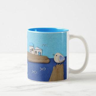 Seemöwen - Strand-Kunst-Collagen-Tasse Zweifarbige Tasse