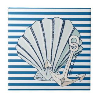 SeeMuschel und Anker-blaue und weiße Fliese