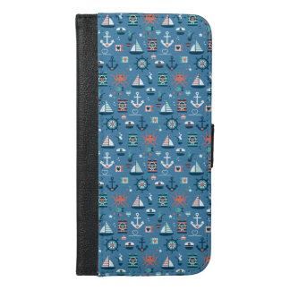 Seemuster niedlichen blauen Seekapitäns iPhone 6/6s Plus Geldbeutel Hülle