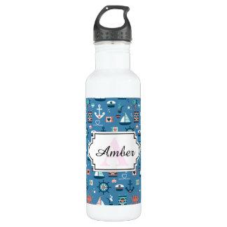 Seemuster niedlichen blauen Seekapitäns Trinkflasche