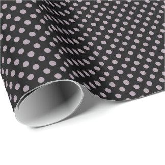 Seenebel lila auf schwarzem Polka-Punkt Geschenkpapier
