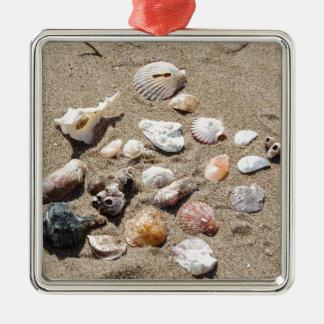 Seeoberteile Quadratisches Silberfarbenes Ornament
