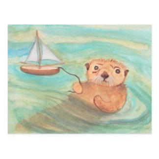 Seeotter u. Segelboot Postkarten