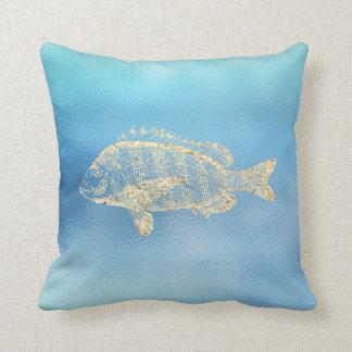 Seeozean-Blau-Aqua Ombre Tiffany Gold Grouperfish Kissen