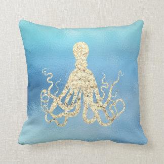 Seeozean-Blau-Aqua Ombre Tiffany goldene Krake Kissen