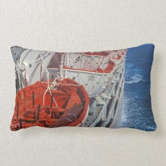 Seeozean-blaues Rot-Boote, die Seedekor segeln Lendenkissen