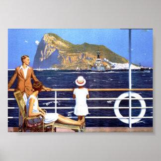 Seeozean-Kreuzfahrt-Reise nach Gibraltar Vintag Poster