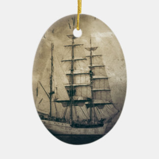 Seeozean-SeeVintages Segelnsegelboot Ovales Keramik Ornament