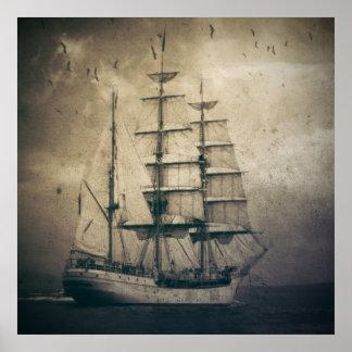 Seeozean-SeeVintages Segelnsegelboot Poster