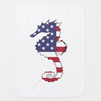 """Seepferd """"amerikanische Flagge """" Babydecke"""