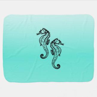 Seepferd-Aqua Babydecke