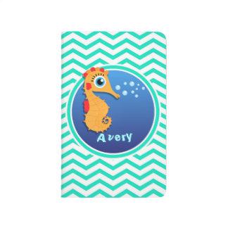 Seepferd; Aqua-grünes Zickzack Taschennotizbuch