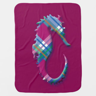 Seepferd im rosa und blauen karierten Muster Babydecke