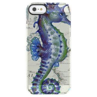 Seepferd-Karten-Vintages Blau Durchsichtige iPhone SE/5/5s Hülle