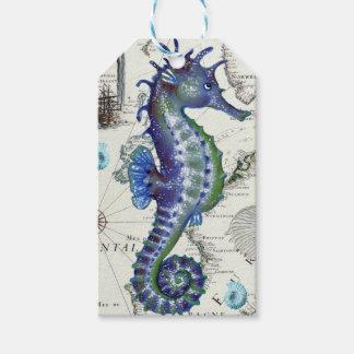Seepferd-Karten-Vintages Blau Geschenkanhänger