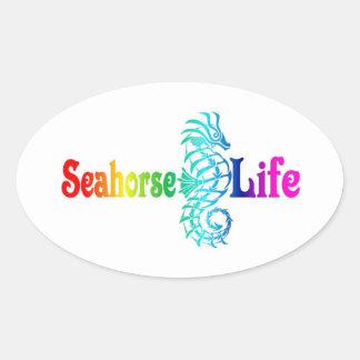Seepferd-Leben Ovaler Aufkleber