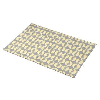 Seepferd-Muster in Gelbem und im Grau Tischset