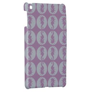 Seepferd-Muster in Grauem und in Lila iPad Mini Hülle