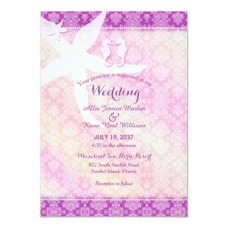 Seepferd-Paar-lila tropische Strand-Hochzeit 12,7 X 17,8 Cm Einladungskarte