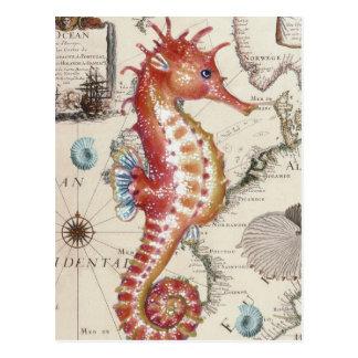 Seepferd schäbig postkarte