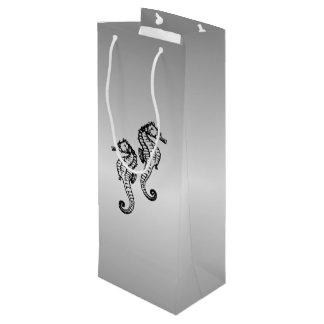 Seepferd-Silber Geschenktüte Für Weinflaschen