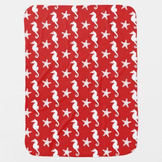 Seepferd u. Starfish - dunkles korallenrotes Rotes Babydecke