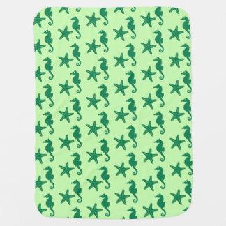 Seepferd- u. Starfish- Limones und Smaragdgrün Babydecke