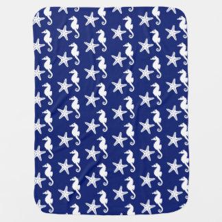 Seepferd u. Starfish - Marineblau und -WEISS Puckdecke