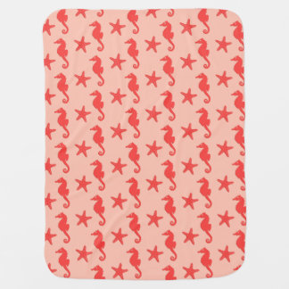 Seepferd u. Starfish - Schatten der korallenroten Kinderwagendecke