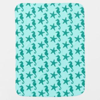 Seepferd u. Starfish - Türkis und Aqua Kinderwagendecke