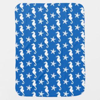 Seepferd u. Starfish - Weiß auf Kobaltblau Puckdecke