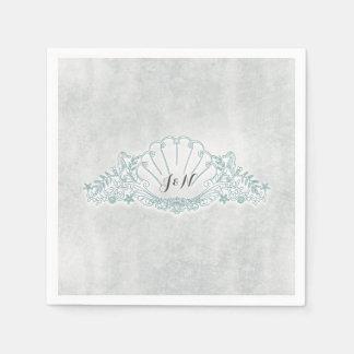 Seepferde u. Seashell-Strand-Hochzeits-Empfang Serviette