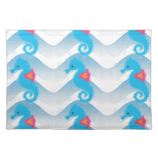 Seepferde und blaues Wellen-Muster Stofftischset