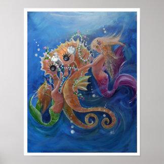 Seepferde und Meerjungfrauen Poster
