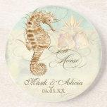 Seepferdeküstenstrand - personalisierte Hochzeit Bierdeckel