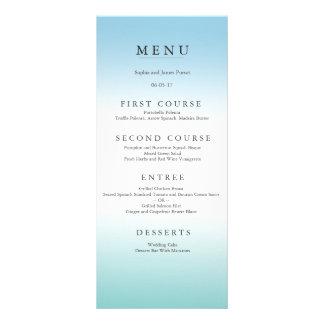 Seeschaum und blaues Hochzeits-Menü Werbekarte