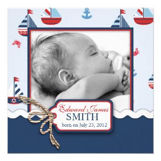 Seeschiffe ahoi! Geburts-Mitteilung QUADRAT Individuelle Einladungskarte