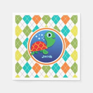 Seeschildkröte auf buntem Rauten-Muster Papierserviette