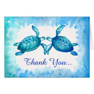 Seeschildkröte danken Ihnen blaue aquamarine das Mitteilungskarte