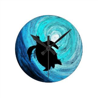 Seeschildkröte-Silhouette (K.Turnbull Kunst) Runde Wanduhr
