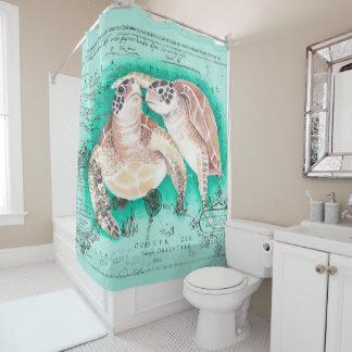 Seeschildkröten aquamarin duschvorhang