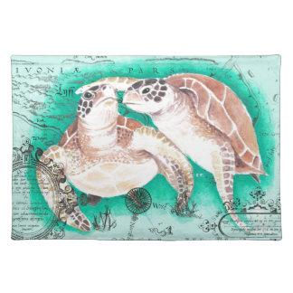 Seeschildkröten aquamarin stofftischset