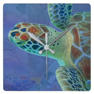 Seeschildkröten-Uhr Quadratische Wanduhr