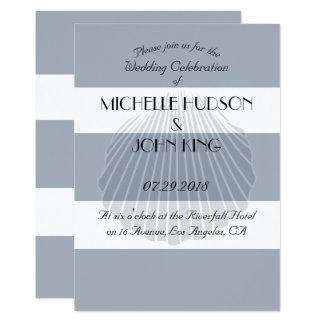 Seeseashell-Strand-Streifen-Hochzeits-Einladungen Karte